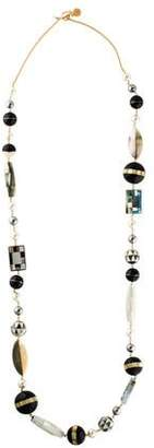 Tory Burch Mother of Pearl, Faux Pearl & Resin Long Beaded Necklace