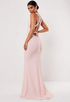 Missguided Pink Crepe Halterneck Bodycon Maxi Dress