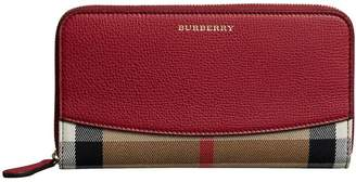 Burberry House Check and Leather Ziparound Wallet