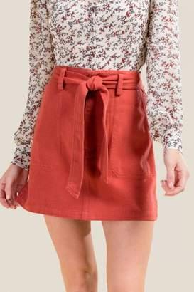 francesca's Darla Paperbag Waist Skirt - Cinnamon