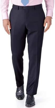 Charles Tyrwhitt Ink Blue Slim Fit Birdseye Travel Suit Wool Pants Size W32 L34