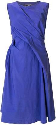 Hache ruched flared midi dress
