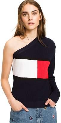 Tommy Hilfiger One-Shoulder Flag Sweater