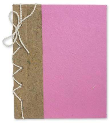 Pink Reflections Hand Crafted Journal with Saa Paper from Thailand (25 pages)