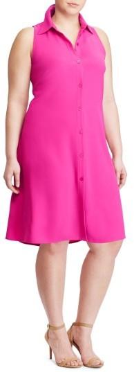 Lauren Ralph LaurenPlus Size Women's Lauren Ralph Lauren Sleeveless Crepe Shirtdress