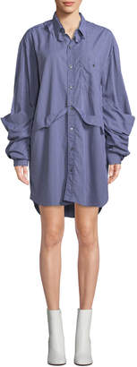 Vetements Checkered Button-Front Deconstructed Blouse