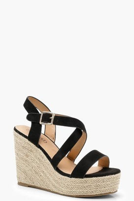 boohoo Strappy Espadrille Wedges