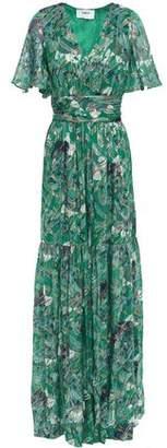 BA&SH Jessy Printed Metallic Fil Coupe Silk-blend Maxi Dress