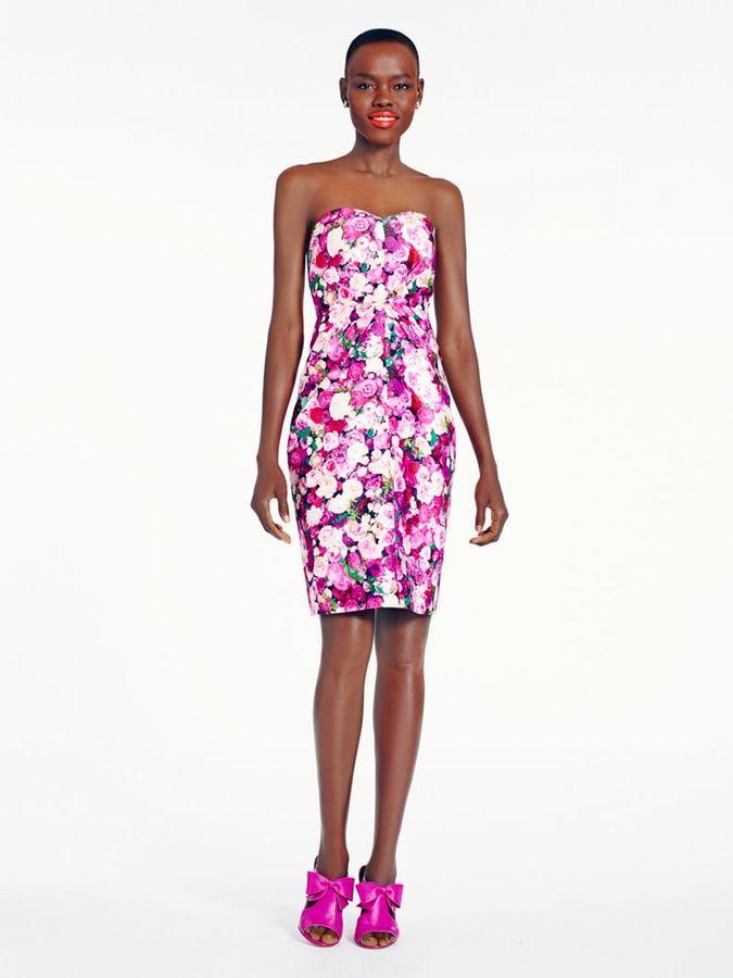 Kate Spade Rose print strapless dress
