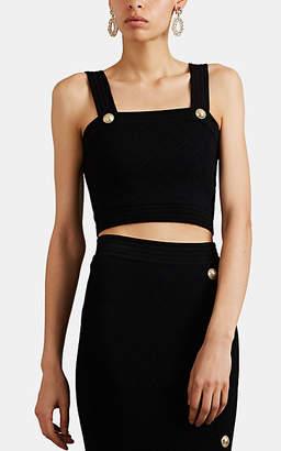 Balmain Women's Diamond-Knit Bra Top - Black