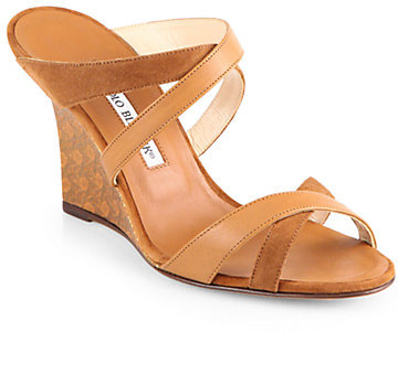 Manolo Blahnik Varchi Strappy Leather & Suede Wedge Sandals