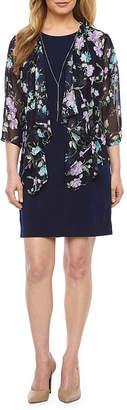 R & K Originals 3/4 Sleeve Floral Faux Jacket Dress-Petite