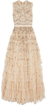 Needle & Thread Pearlescent Tiered Embellished Tulle Gown - Beige