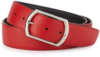 Simonnot Godard Reversible Leather Belt, Red/Navy