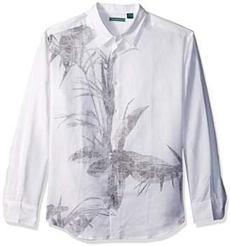 Cubavera Men's Long Sleeve Linen-Blend Print Button-Down Shirt