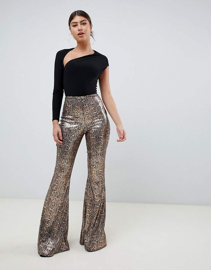 sequin snake print flare trouser in multi