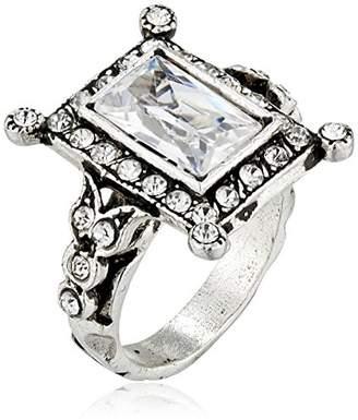 Azaara Vintage Silver Plate Baguette Swarovski Crystal Ring