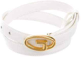 Gucci Leather Skinny Logo Belt