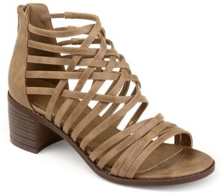 Brinley Co. Womens Faux Leather Caged Criss-cross Heeled Sandals