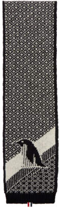 Thom Browne Black Penguin Icon Scarf