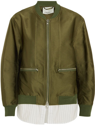 3.1 Phillip Lim - Satin And Striped Poplin Bomber Jacket - Army green $850 thestylecure.com