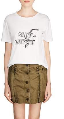 Saint Laurent Women's Lightning-Logo Cotton T-Shirt