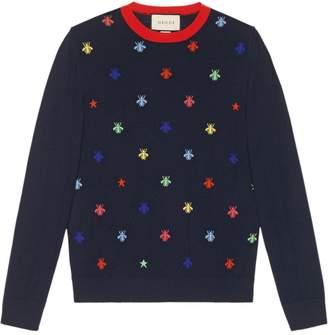 Gucci Bees & stars intarsia knit sweater
