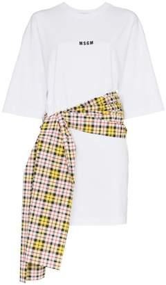 MSGM check tie waist t-shirt