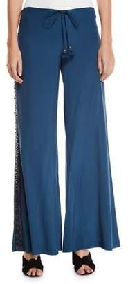 Figue Estela Sequin-Striped Wide Leg Pants