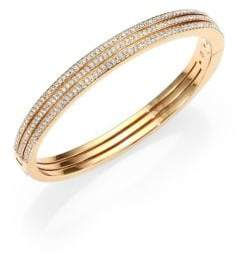 Adriana Orsini Pave Crystal Three-Row Bangle Bracelet/Goldtone