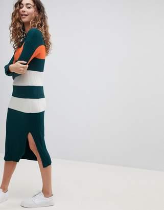 Asos DESIGN oversized rib dress in block stripe