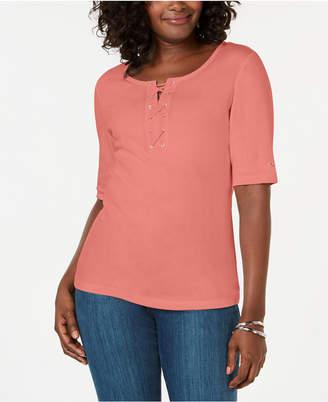 Karen Scott Cotton Lace-Up T-Shirt