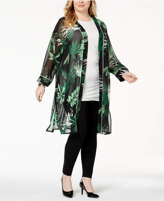 Alfani Plus Size Sheer Printed Kimono Jacket, Created for Macy's