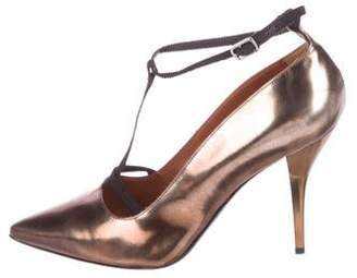 Lanvin Metallic T-Strap Pumps