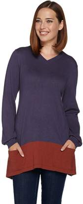 Logo By Lori Goldstein LOGO by Lori Goldstein Cotton Cashmere V-neck Sweater
