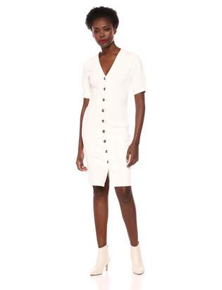 95bba20cbc86 ASTR the Label Women s Logan Short Sleeve Button Down Stretch Fitted MIDI  Dress l
