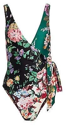 Zimmermann Women's Allia Floral Wrap One-Piece Swimsuit
