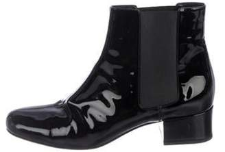 Saint Laurent Patent Leather Round-Toe Ankle Boots Black Patent Leather Round-Toe Ankle Boots