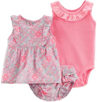 Carter's Baby Girl Floral Tank Top, Ruffled Bodysuit & Floral Bubble Shorts Set