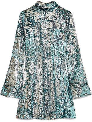 Halpern - Sequined Tulle Turtleneck Mini Dress - Blue
