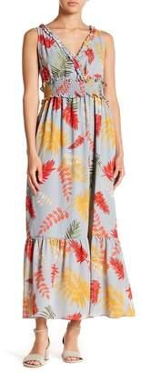 Hazel Floral Print Flounce Hem Maxi Dress