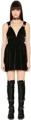 Fausto Puglisi Flared & Studded Velvet Mini Dress