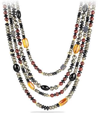 David Yurman Necklace with Pyrite, Citrine, Black Onyx and Garnet