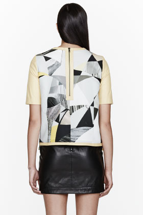 Helmut Lang Yellow Leather Cubist Print Top