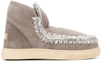 Mou knitted detail snaker boots