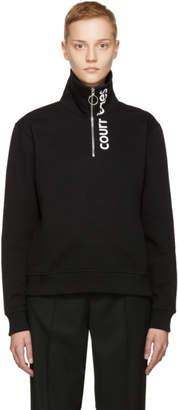 Courreges Black Logo Zip Neck Sweatshirt