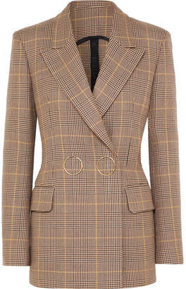 Petar Petrov Double-breasted Checked Wool Blazer - Tan