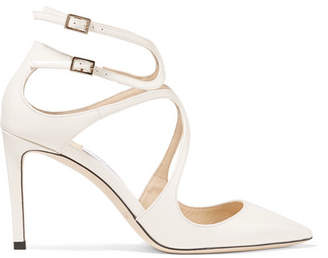 Jimmy Choo Lancer 85 Patent-leather Pumps - White