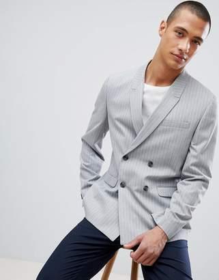 Asos Design Skinny Double Breasted Blazer In Grey Pinstripe