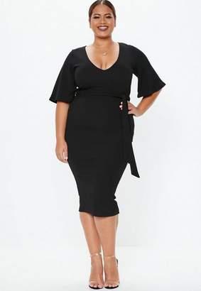 Missguided Plus Size Black Kimono Sleeve Midi Dress